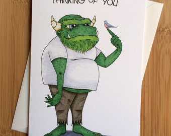 Thinking of You Monster Greeting Card - Blank Inside