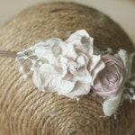 NEWBORN Pink & Cream Flower Headband - Newborn Headband