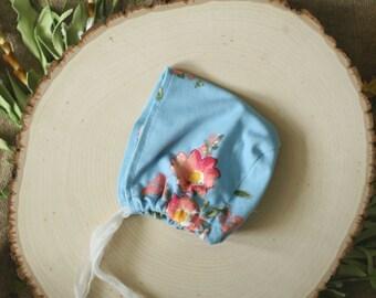 Newborn Photography Prop - Bonnet - Blue with Floral Pattern