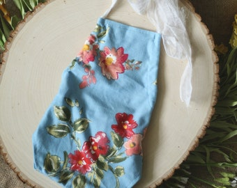 Newborn Photography Prop - Julia Romper - Blue with Floral Pattern
