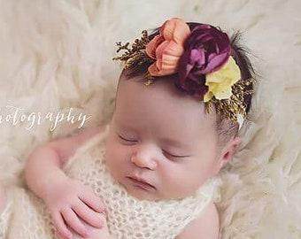 Newborn Floral Headband - Fall Headband -  Purple and Warm Coral Tones - Photography Prop