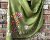 Lemon Grass Green Embroidered Light Weight Soft Romantic Semi-Pashmina embroidered wrap stole scarf shawl or 73 quot x 28 quot by Kashmirvalley