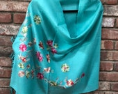 Aqua Embroidered Light Weight Soft Romantic Semi-Pashmina embroidered wrap stole scarf shawl or 73 quot x 28 quot by Kashmirvalley