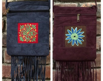 """8""""x 7""""x 0.5"""" """"Rexine""""-Suede like fabric Crossbody Embroidered Bag with Fringe -Tassles by Kashmirvalley.com"""
