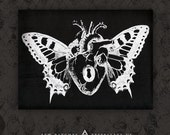 Winged Anatomical Heart - Black Canvas Patch