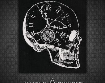Skull Clock - Black Canvas Patch