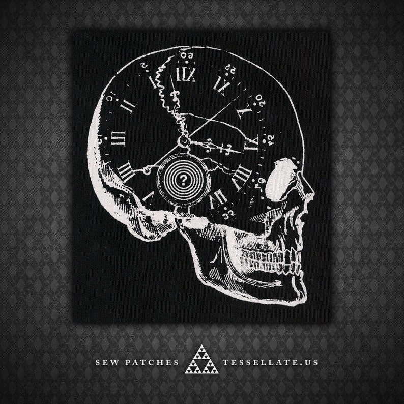 Skull Clock  Black Canvas Patch image 0