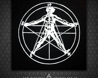 Alchemical Pentagram - Black Canvas Patch