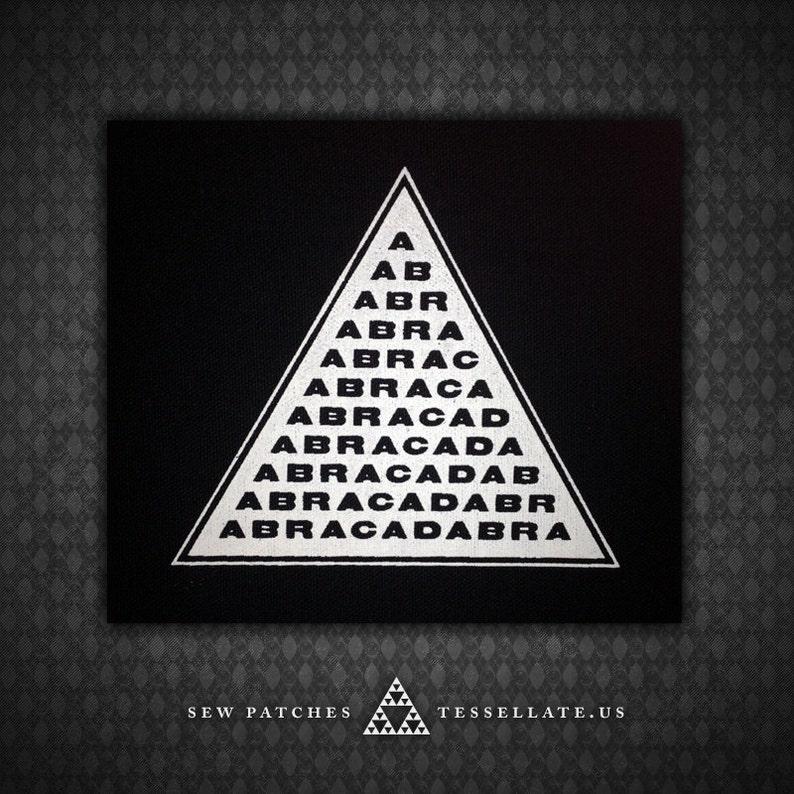ABRACADABRA Magic Triangle  Black Canvas Patch image 0