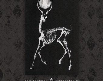 Skeletal Deer Moon - Black Canvas Patch
