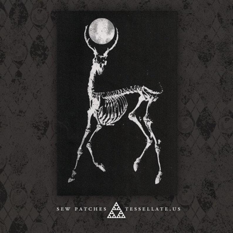 Skeletal Deer Moon  Black Canvas Patch image 0