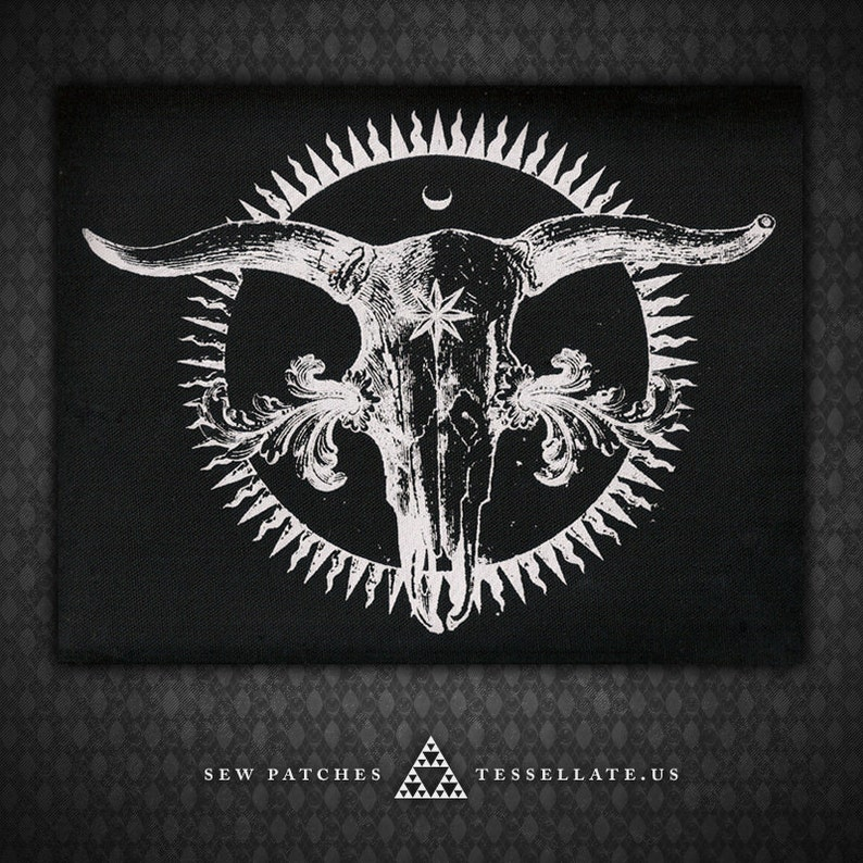 Radiant Cow Skull  Black Canvas Patch image 0