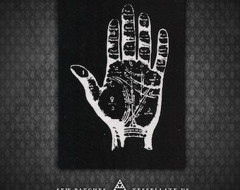 Palmistry Hand - Black Canvas Patch