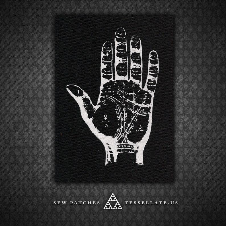Palmistry Hand  Black Canvas Patch image 0