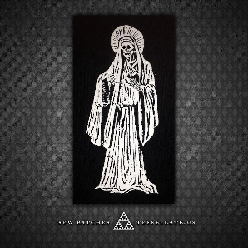 Santa Muerte Holy Death  Black Canvas Patch image 0
