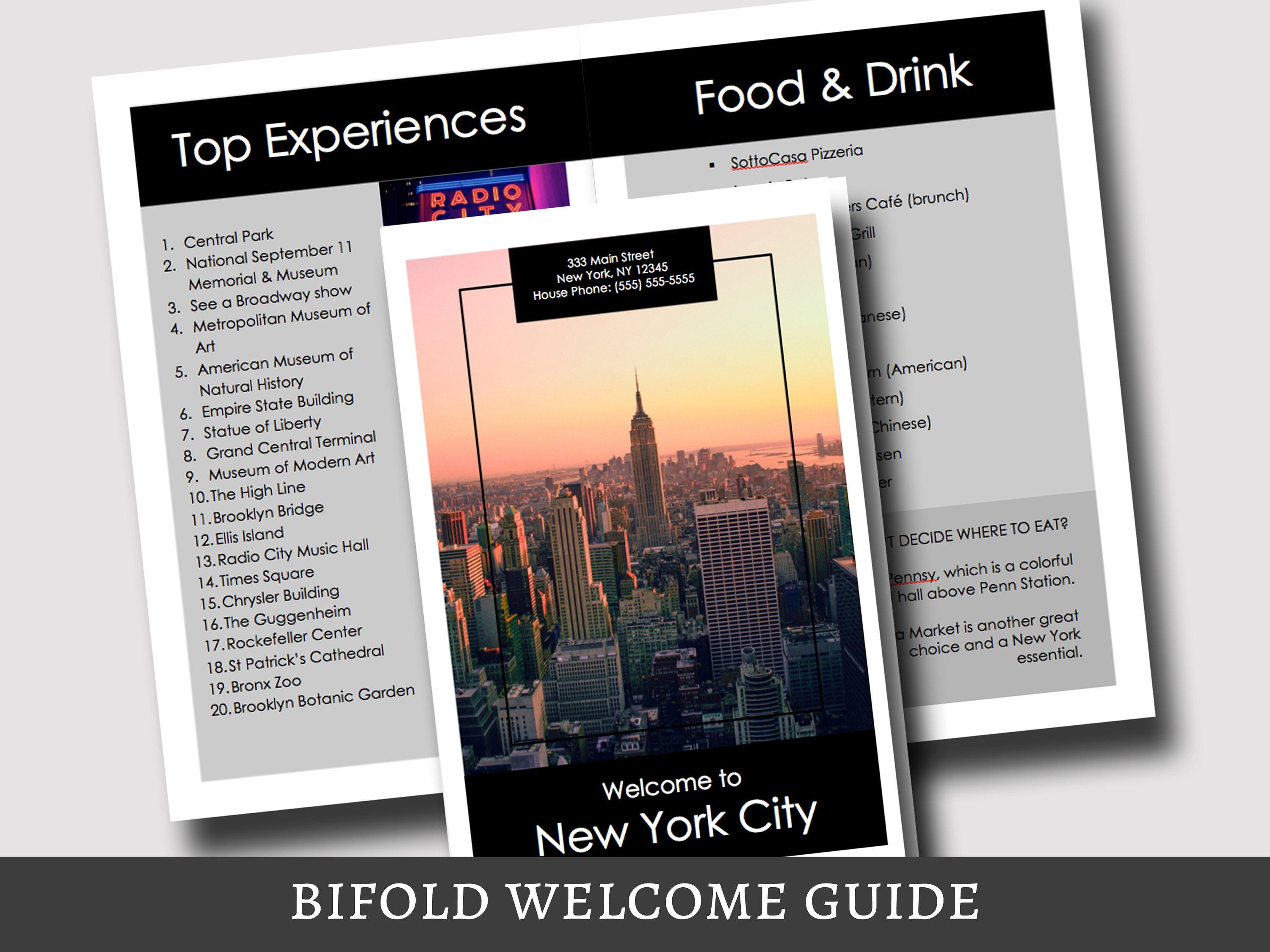 BiFold Vacation Rental Welcome Guide Template - New York City Printable,  Airbnb Host, City Guide, Guidebook, Airbnb Printable Template, VRBO