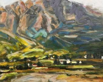 "Landscape Scotland Mountain Cottage  20""x16""  acrylics on canvas original painting"