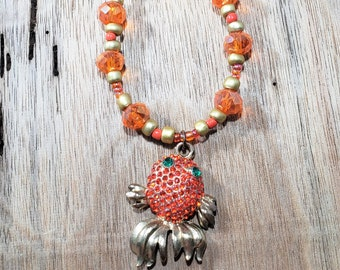 Gold and Orange Fish Coy Goldfish Pendant Beaded Necklace