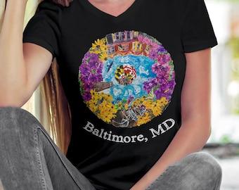 Ladies Baltimore V neck tee