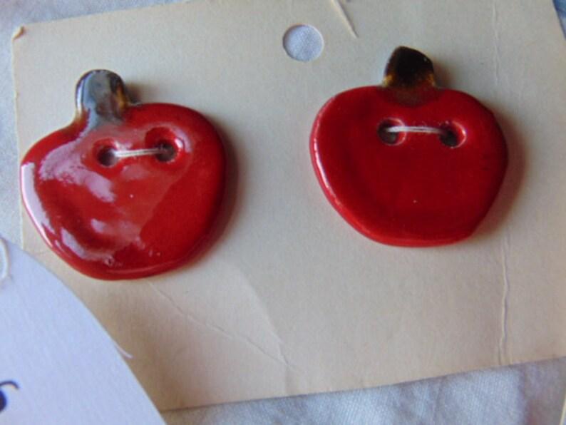 Handmade Ceramic Buttons Cherry Heart Strawberries