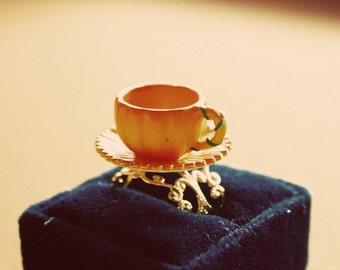 Cinderella pumpkin carriage teacup ring
