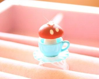 Smurf Toadstool Mushroom teacup ring (CHOOSE ONE)