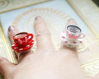 Polka dots Teacup ring