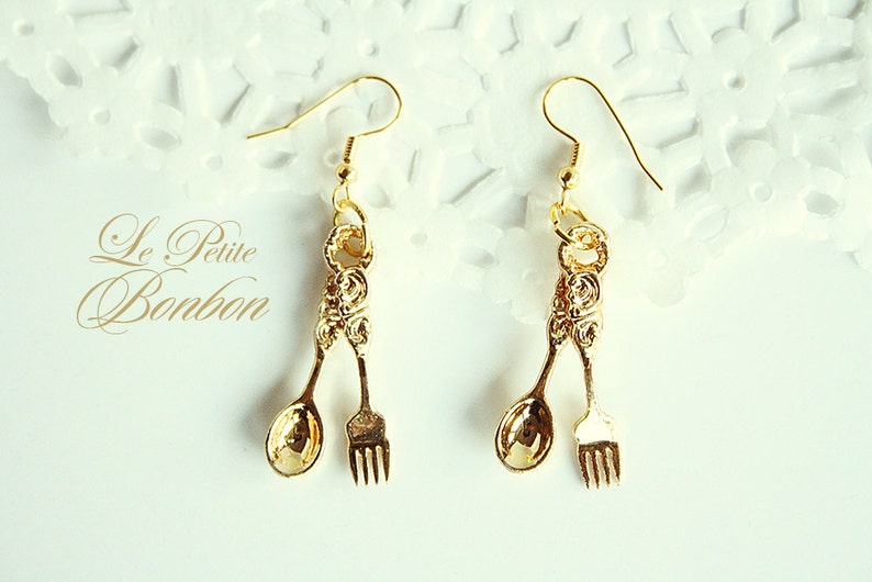 c8cca7954 Royal fork and spoon earrings   Etsy