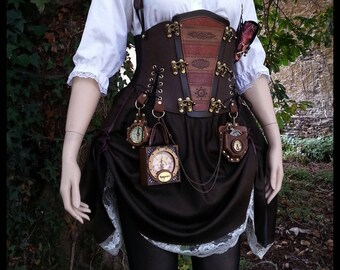 Steampunk Dress,  Leather Corset Belt, Outfit, Steampunk Hat, Skirt, Shirt & Accessories, Unique Gift for her, Ready to Ship Now