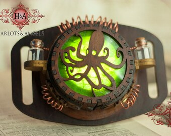 Steampunk Belt Lamp, Octopus Lantern, Accessories, Kraken, Geek Gift, Attach Bags and Belts, Make your Costumes Glow