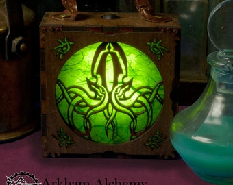 Steampunk Gadget, Lamp, Alternative Gift, Cthulhu, Lantern. Costume Accessory Box. Lovecraft, Necronomicon, Glow Box, Cosplay, Larp
