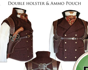 Steampunk Holster Pattern, PDF download for Leather Work,  Cosplay, Larp, Gun Holster