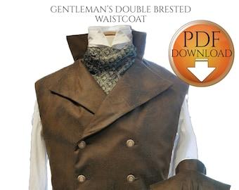 Steampunk Vest Sewing Pattern, Medium Size, Westworld, Sweeney Todd Waistcoat, Victorian, Gilet , Instant download