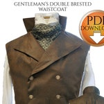 "Sweeney Todd Style Waistcoat Sewing pattern. Steampunk, Gothic, wedding, instant Pdf download Chest sizes 36""-38"" -40""-42"""