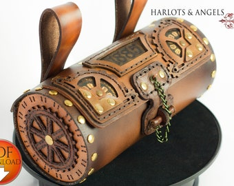 Leather Bag Pattern, PDF Download  Steampunk Style with Video Tutorial