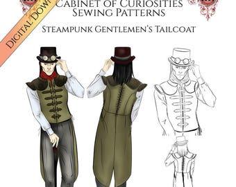 Steampunk Sewing Pattern for Men, Vest Waistcoat Tailcoat. PDF Digital Download
