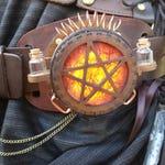 Steampunk Lamp, Steampunk accessory, Pentagram Orange Cosplay Belt light, Steampunk Costume, Pentangle Light, Potion Bottles