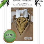 Cravat Neck Tie Sewing Pattern, pdf Download, Steampunk Cosplay, Perfect for weddings and Late Victorian Sherlock Holmes style