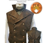 """Sweeney Todd Style Waistcoat Sewing pattern. Steampunk, Gothic, wedding, instant Pdf download Chest sizes 36""""-38"""" -40""""-42"""""""
