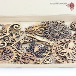 Steampunk Craft Shapes, Full Boxes of  Mixed Embellishments  for Mixed media, Mixed Medium Scrapbooking Art DIY Projects
