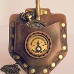 Steampunk Pocket Watch, convention Gift,  Brown Leather Pouch,  Brass Rivets, Hand stitched with Reality Meter Dial, Geek gift