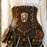 Steampunk Corset Belt with Brass Lion for cosplay and Larp,  All sizes, Fast shipping