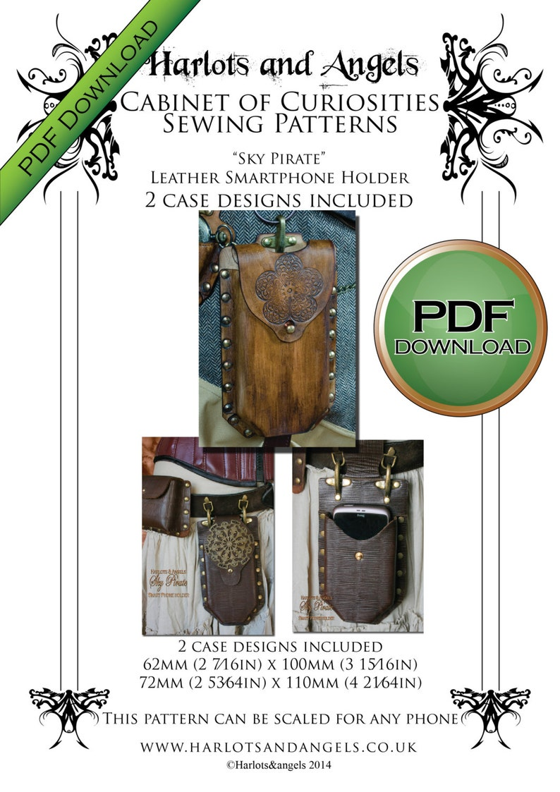 PDF Leather Work Pattern for Seampunk smartphone Holders i image 0