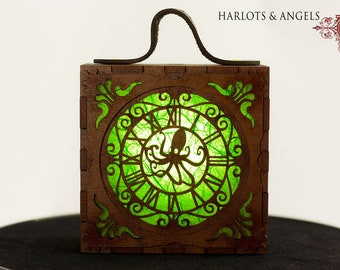 Steampunk  Lamp, Green Cosplay lamp for Larp, Unusual convention Gift, Costume accessory Lantern