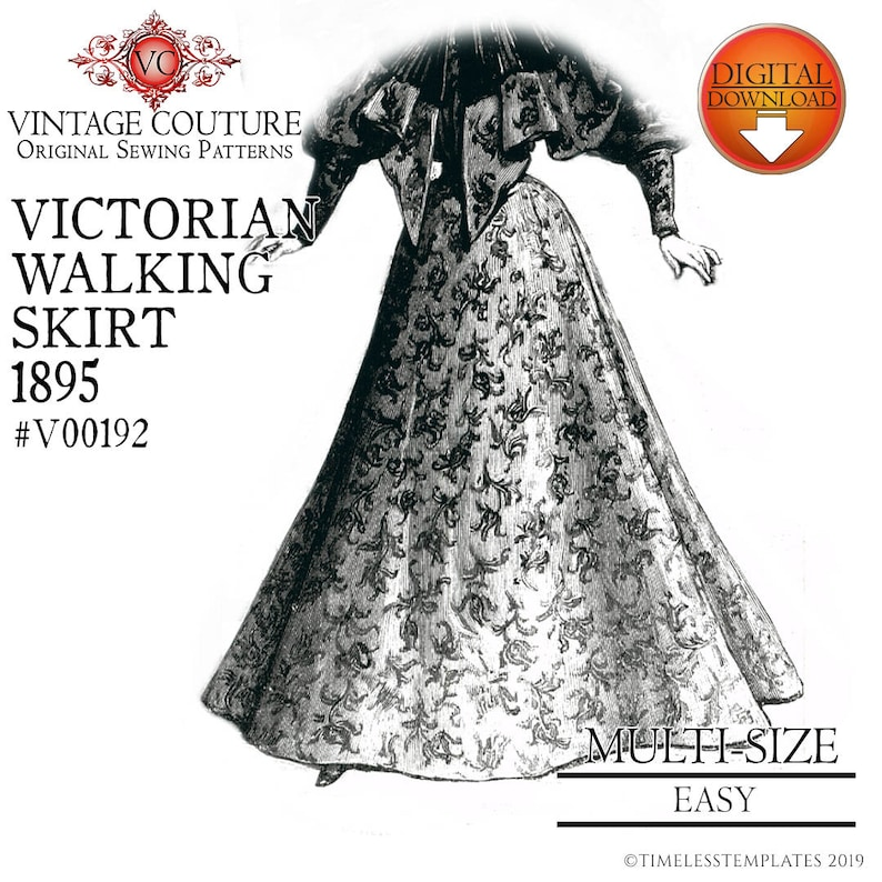 Victorian Sewing Patterns- Dress, Blouse, Hat, Coat, Mens Victorian Skirt Sewing pattern. Steampunk Walking Skirt Pattern Pdf Pattern multi size Very easy to sew $18.95 AT vintagedancer.com