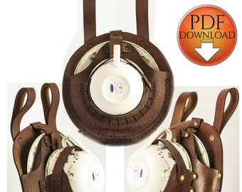 Steampunk Holster Pattern For DIY Leather or Fabric Sewing,  with Video Tutorial