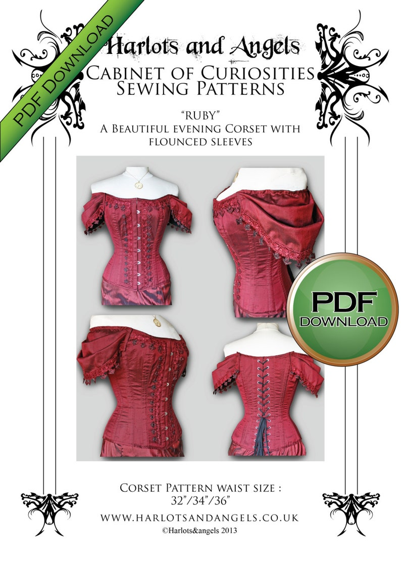 Digital Download Corset Paper Pattern. Tight lacing steel image 0