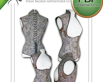 Corset Sewing Pattern, Digital Pattern,  PDF Instant Download, Steampunk, Corset Pattern,  Cosplay Larp Pattern, Large size