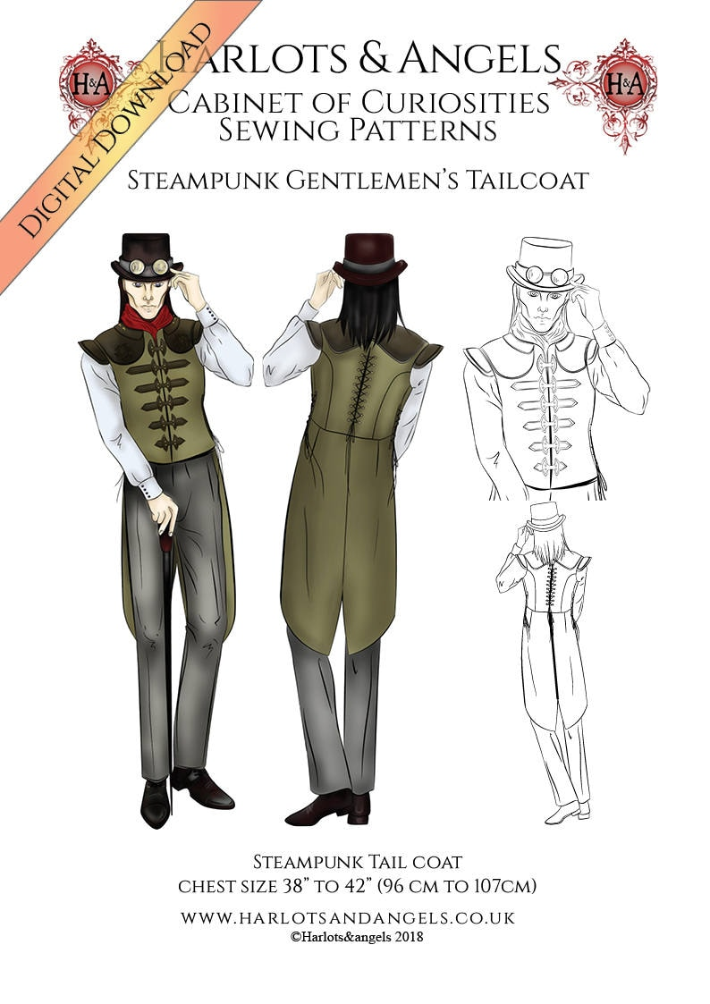 Steampunk Sewing Pattern for Men Vest Waistcoat Tailcoat. PDF image 0