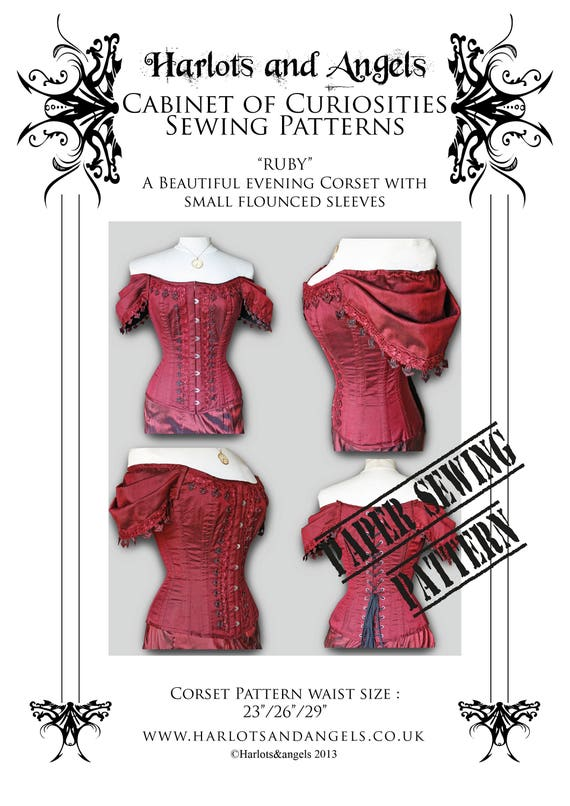 d0b5ad23de Steampunk Gothic Ruby Corset Paper Sewing Pattern